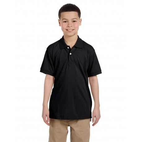 M265Y Harriton M265Y Youth 5.6 oz. Easy Blend Polo BLACK