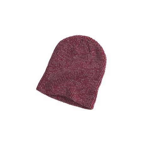 BA524 Big Accessories BA524 Ribbed Marled Beanie MAROON/GRAY