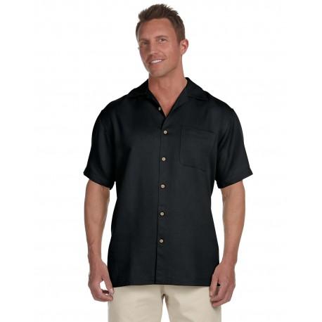 M570 Harriton M570 Men's Bahama Cord Camp Shirt BLACK