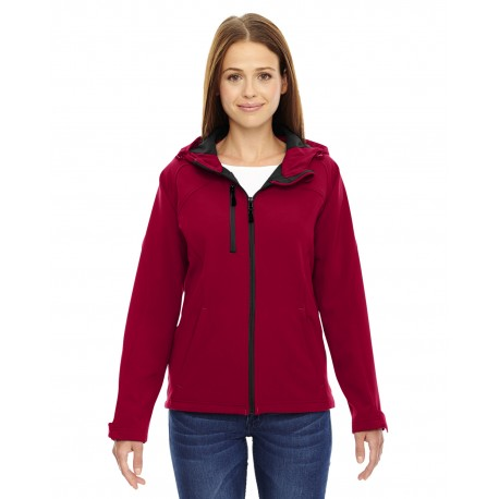78166 North End 78166 Ladies' Prospect Two-Layer Fleece Bonded Soft Shell Hooded Jacket MOLTEN RED 751