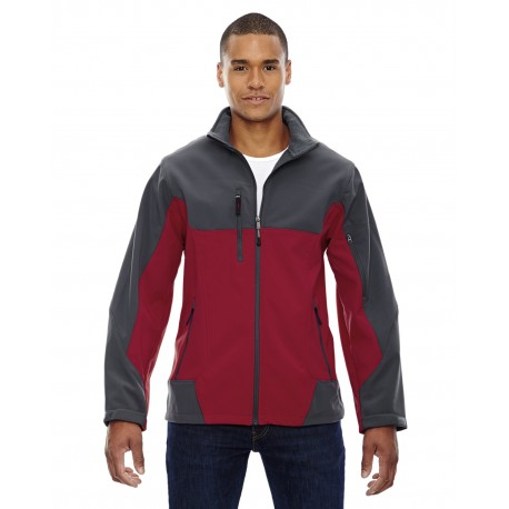 88156 North End 88156 Men's Compass Colorblock Three-Layer Fleece Bonded Soft Shell Jacket MOLTEN RED 751