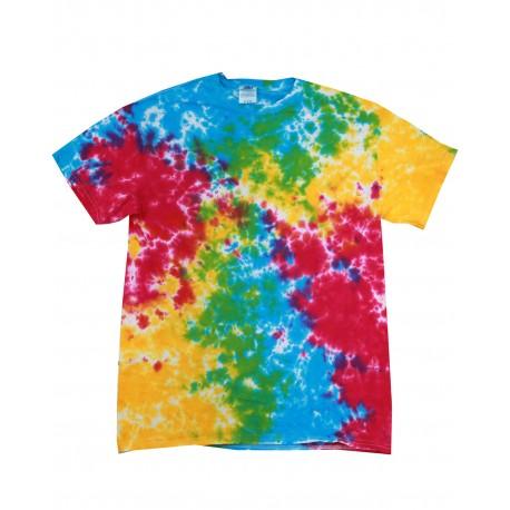 CD100 Tie-Dye CD100 Adult 5.4 oz., 100% Cotton Tie-Dyed T-Shirt MULTI RAINBOW