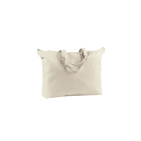 BE009 BAGedge BE009 12 oz. Canvas Zippered Book Tote NATURAL