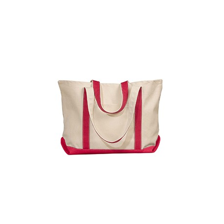 8872 Liberty Bags 8872 Carmel Classic XL Cotton Canvas Boat Tote NATURAL/RED