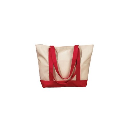 BE004 BAGedge BE004 12 oz. Canvas Boat Tote NATURAL/RED