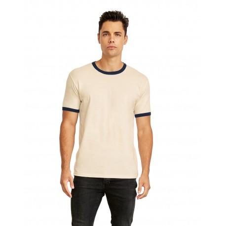 3604 Next Level 3604 Unisex Ringer T-Shirt NATURL/MDNT NVY