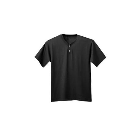 NB3143 A4 NB3143 Youth Tek 2-Button Henley Jersey BLACK
