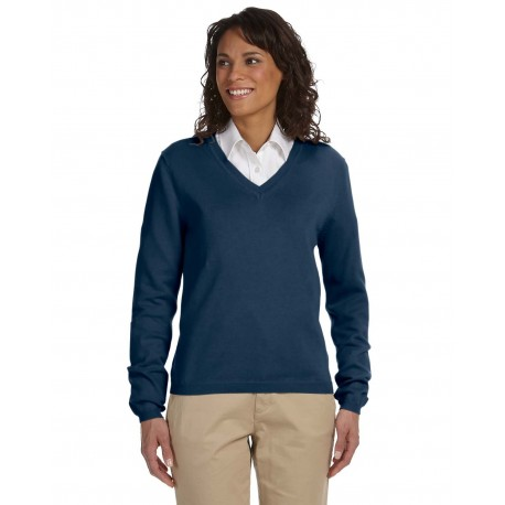 D475W Devon & Jones D475W Ladies' V-Neck Sweater NAVY