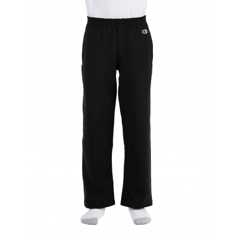 P890 Champion P890 Youth 9 oz. Double Dry Eco Open-Bottom Fleece Pant BLACK