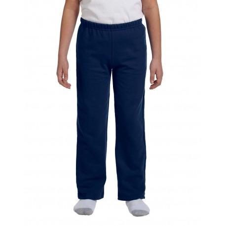 G184B Gildan G184B Youth Heavy Blend 8 oz., 50/50 Open-Bottom Sweatpants NAVY
