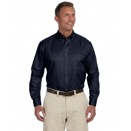 M500 Harriton M500 Men's Easy Blend Long-Sleeve Twill Shirt with Stain-Release NAVY