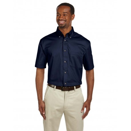 M500S Harriton M500S Men's Easy Blend Short-Sleeve Twill Shirt with Stain-Release NAVY