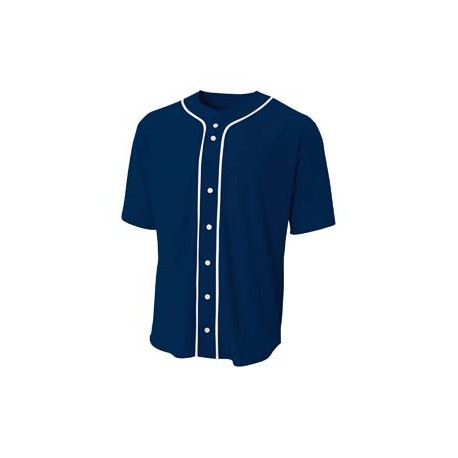 N4184 A4 N4184 Shorts Sleeve Full Button Baseball Top NAVY
