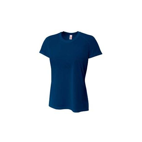 NW3264 A4 NW3264 Ladies' Shorts Sleeve Spun Poly T-Shirt NAVY
