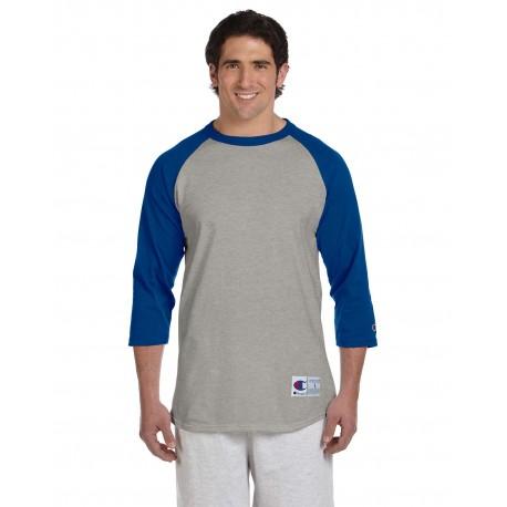 T1397 Champion T1397 Adult 5.2 oz. Raglan T-Shirt OXF GRY/TM BLUE