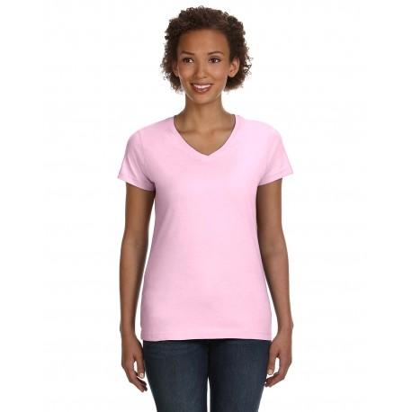 3507 LAT 3507 Ladies' V-Neck Fine Jersey T-Shirt PINK
