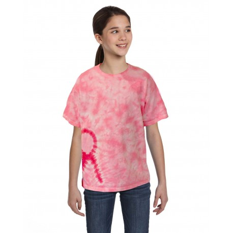 CD1150Y Tie-Dye CD1150Y Youth Pink Ribbon T-Shirt PINK RIBBON