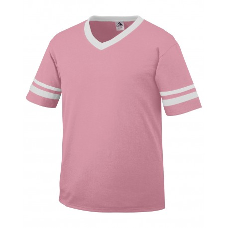 361 Augusta Sportswear 361 Youth Sleeve Stripe Jersey PINK/WHITE