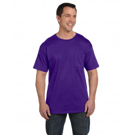 5190P Hanes 5190P Adult 6.1 oz. Beefy-T with Pocket PURPLE