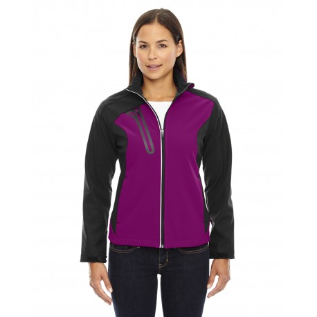 78176 North End 78176 Ladies' Terrain Colorblock Soft Shell with Embossed Print RASPBERRY 455