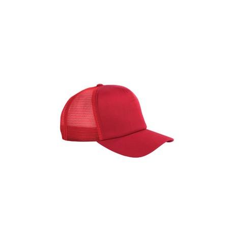 BX010 Big Accessories BX010 5-Panel Twill Trucker Cap RED
