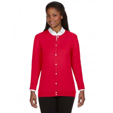 DP181W Devon & Jones DP181W Ladies' Perfect Fit Ribbon Cardigan RED