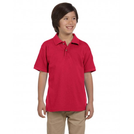 M200Y Harriton M200Y Youth 6 oz. Ringspun Cotton Pique Short-Sleeve Polo RED