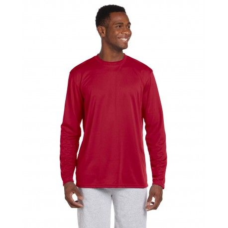 M320L Harriton M320L Adult 4.2 oz. Athletic Sport Long-Sleeve T-Shirt RED
