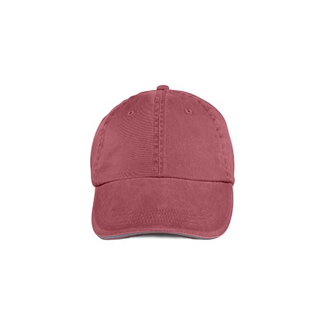 166 Anvil 166 Adult Solid Low-Profile Sandwich Trim Twill Cap RED ROCK