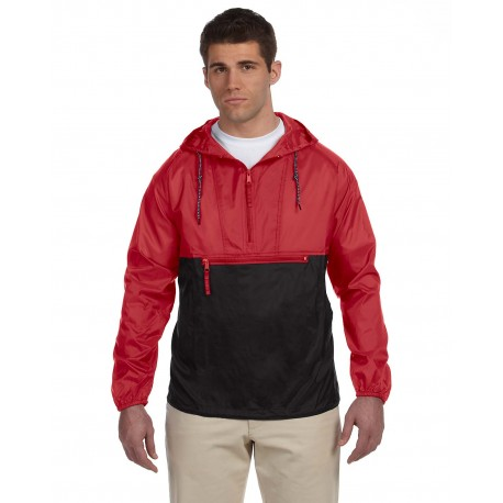 M750 Harriton M750 Adult Packable Nylon Jacket RED/BLACK