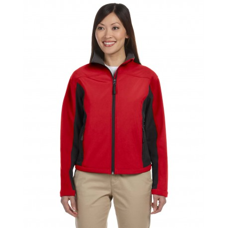 D997W Devon & Jones D997W Ladies' Soft Shell Colorblock Jacket RED/DK CHARCOAL