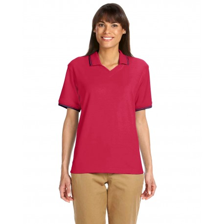 D140W Devon & Jones D140W Ladies' Tipped Perfect Pima Interlock Polo RED/NAVY