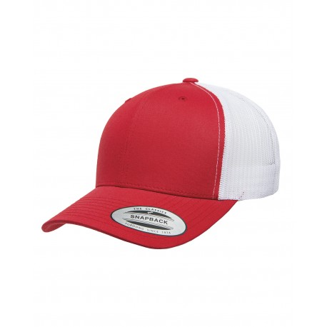 6606 Yupoong 6606 Adult Retro Trucker Cap RED/WHITE