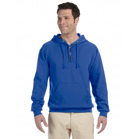994MR Jerzees 994MR Adult 8 oz. NuBlend Fleece Quarter-Zip Pullover Hood ROYAL
