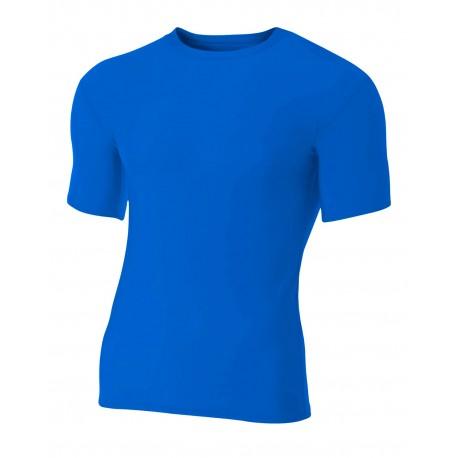 N3130 A4 N3130 Adult Polyester Spandex Short Sleeve Compression T-Shirt ROYAL