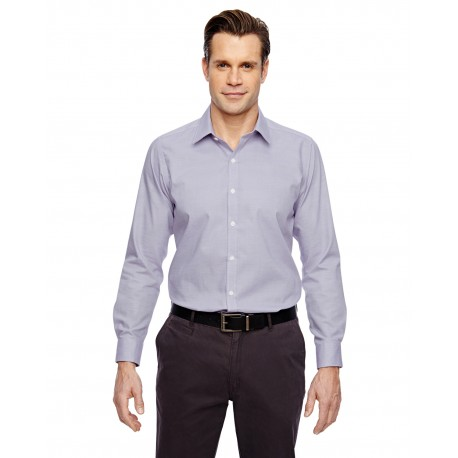 88690 North End 88690 Men's Precise Wrinkle-Free Two-Ply 80's Cotton Dobby Taped Shirt ROYAL PURPL 475