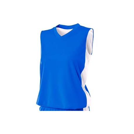 NW2320 A4 NW2320 Ladies' Reversible Moisture Management Muscle Shirt ROYAL/WHITE