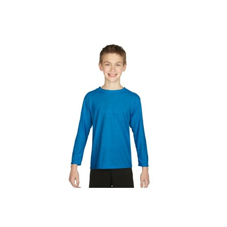 G424B Gildan G424B Youth Performance Youth 5 oz. Long-Sleeve T-Shirt SAPPHIRE