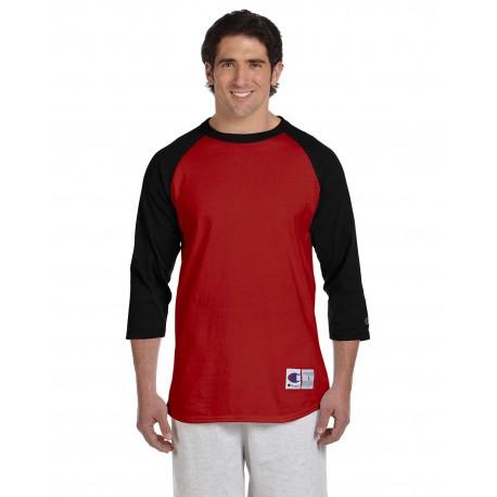 T1397 Champion T1397 Adult 5.2 oz. Raglan T-Shirt SCARLET/BLACK