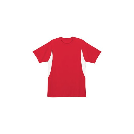 NB3181 A4 NB3181 Youth Cooling Performance Color Blocked Shorts Sleeve Crew Shirt SCARLET/WHITE