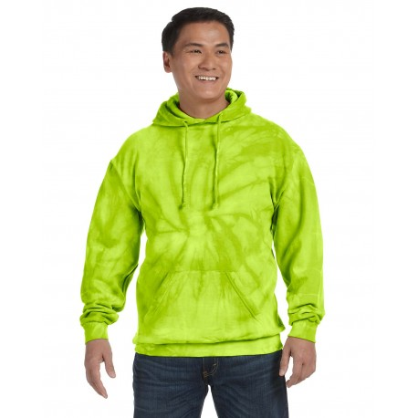 CD877 Tie-Dye CD877 Adult 8.5 oz. Tie-Dyed Pullover Hood SPIDER LIME
