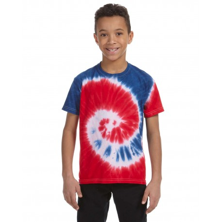 CD100Y Tie-Dye CD100Y Youth 5.4 oz., 100% Cotton Tie-Dyed T-Shirt SPIRAL ROY/RED