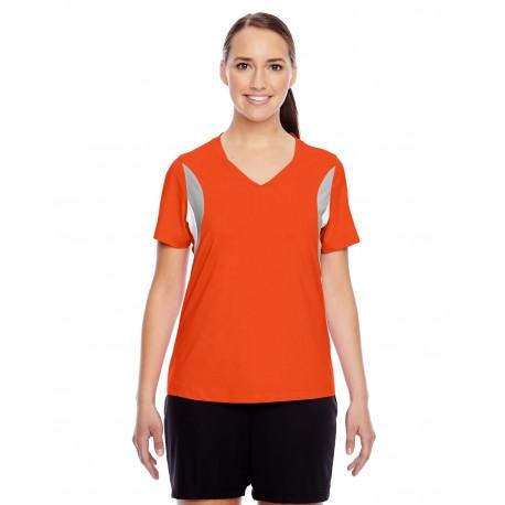 TT10W Team 365 TT10W Ladies' Short-Sleeve Athletic V-Neck Tournament Jersey SPORT ORANGE