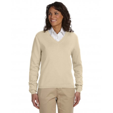 D475W Devon & Jones D475W Ladies' V-Neck Sweater STONE