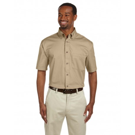 M500S Harriton M500S Men's Easy Blend Short-Sleeve Twill Shirt with Stain-Release STONE