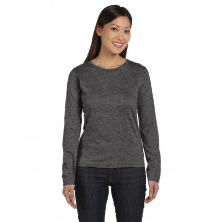 3588 LAT 3588 Ladies' Long-Sleeve Premium Jersey T-Shirt VINTAGE SMOKE