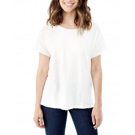 04861C1 Alternative 04861C1 Ladies' Rocker Garment-Dyed Distressed T-Shirt VINTAGE WHITE