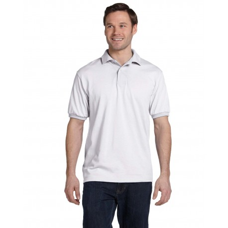 054 Hanes 054 Adult 5.2 oz., 50/50 EcoSmart Jersey Knit Polo WHITE