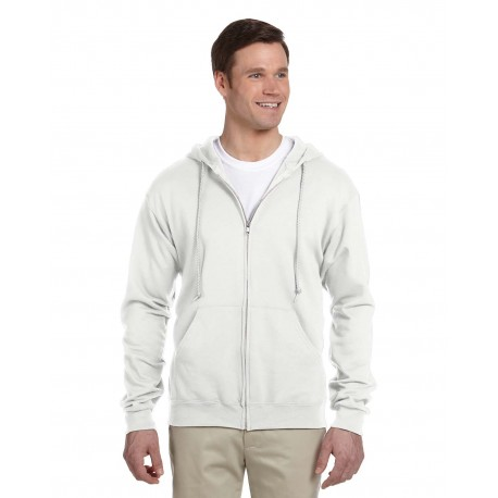 993 Jerzees 993 Adult 8 oz. NuBlend Fleece Full-Zip Hood WHITE