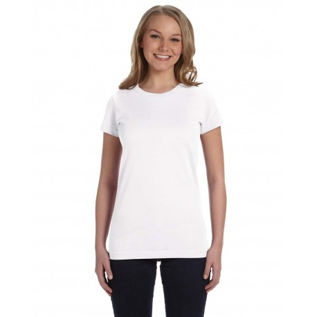 3616 LAT 3616 Ladies' Junior Fit Fine Jersey T-Shirt WHITE